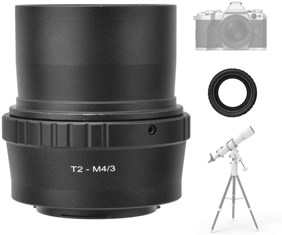 Mugast T2-M43 Metall-Adapterring f/ür Teleskop Adapter f/ür 2-Zoll-T-Mount-Astronomie-Teleskop f/ür die spiegellose Olympus M43-Mount-Kamera