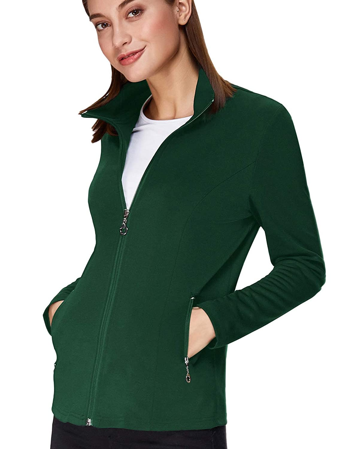 Kate Kasin Womens Stand Collar Sport Jacket Casual Lightweight Zip-up Tops Coat
