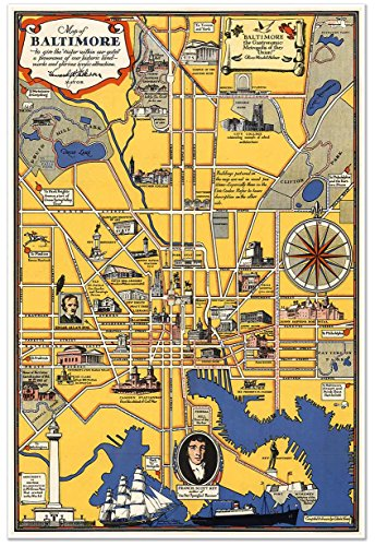 Pictoral map of Baltimore, Maryland circa 1930 - measures 24