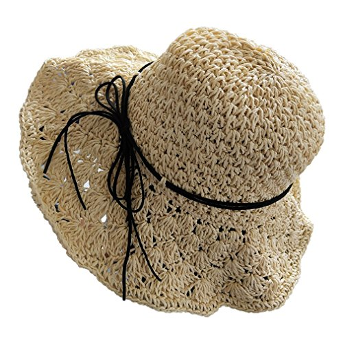 Topromise Sun Straw Hats Hand-Woven Folding Floppy Bowknot Beach Sun Protection(One Size,Beige) (Straw Hand Woven Cap)