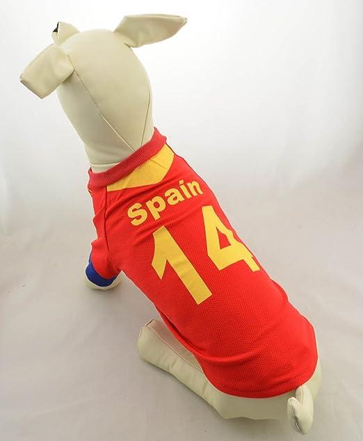 Doggie Style Store Camiseta de fútbol de España para perro, 4 tamaños: Amazon.es: Productos para mascotas