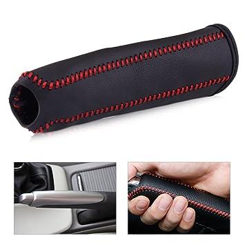 black line Leather Hand Brake Cover Protective Sleeve R TOOGOO Black