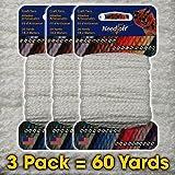 #41 White - Needloft Craft Yarn 3 Pack 60 Yards (3x20yds)