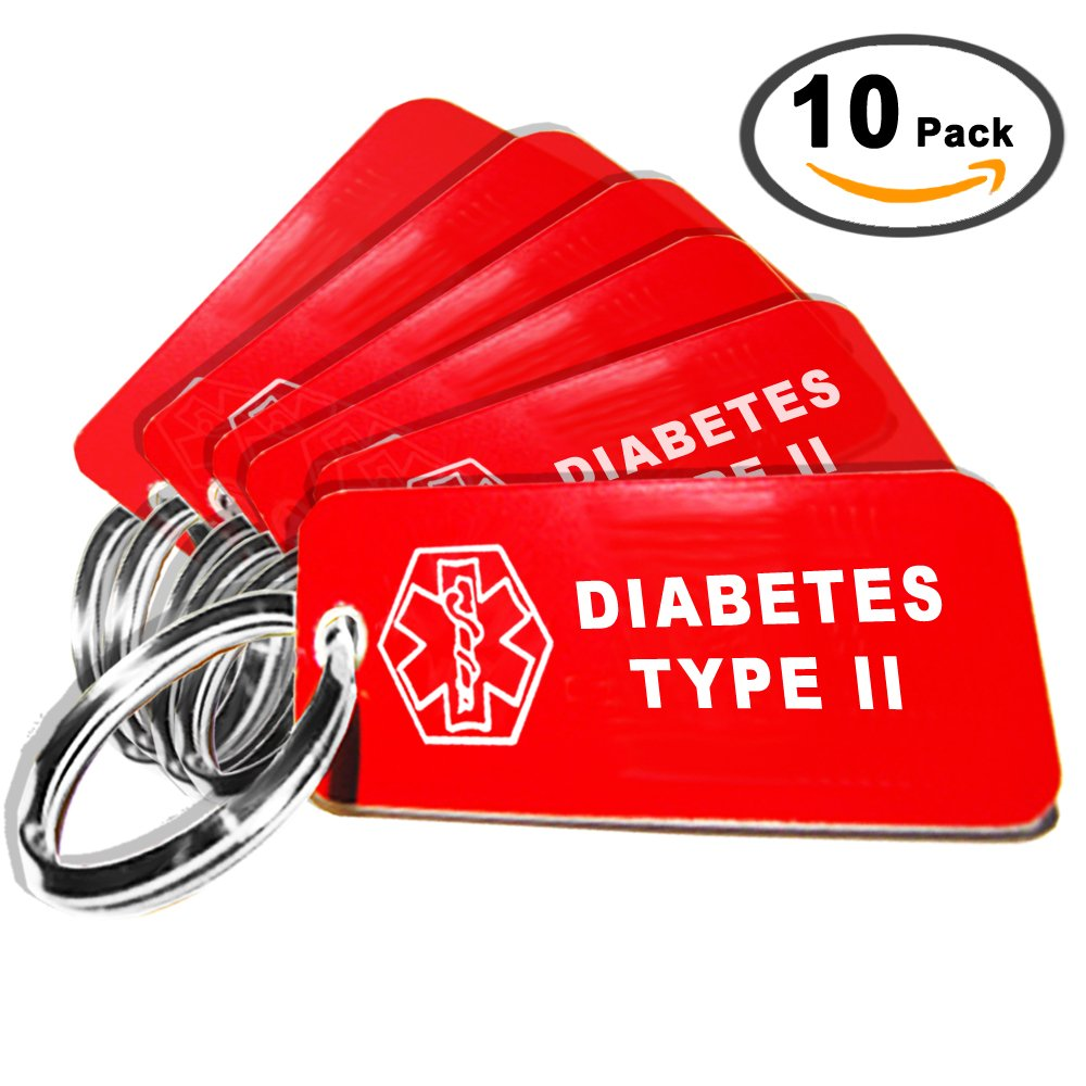 My Identity Doctor – 10 Pre-Engraved Diabetes Type II Plastic Medical Alert ID Keychains, 2.25 x .79 Inch – Made in USA