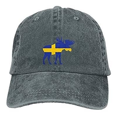 HNE&NQA Denim Baseball Cap Moose Sweden Flag Men Baseball Cap Adjustable Baseball Cap