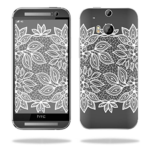 Mightyskins Protective Vinyl Skin Decal Cover for HTC One M8 Cell Phone wrap sticker skins Floral Lace