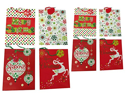 Set of 8 Christmas Gift Bags with Handle and Reinforced Bottom, Size 13