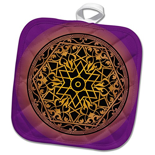 3dRose Sven Herkenrath Art - Intricate Islamic Ornament Vector Black on Purple Background - 8x8 Potholder (phl_281671_1) by 3dRose