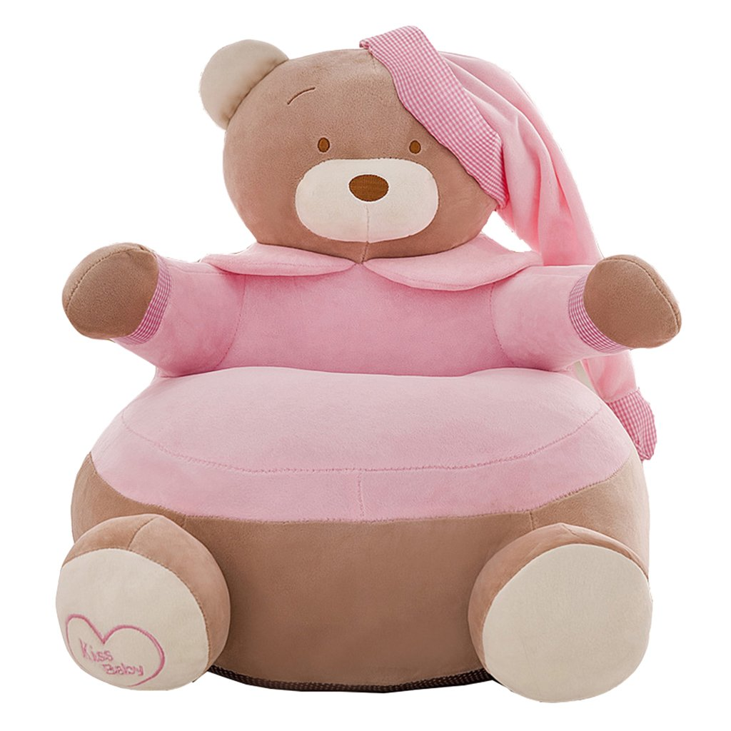 Blesiya Adorable Bear Children Seat Sofa Cover Kids Furniture Armchair Baby Chair Stuff Toy Bean Bag Home Playroom Decor - #2 Light Pink, 20x20 Inch