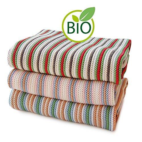 SonnenStrick 3009012 Erstlingsdecke / Babydecke / Kuscheldecke / Strickdecke mit zartem Streifenmuster aus 100 Prozent Bio Baumwolle 80 x 80 cm, rot