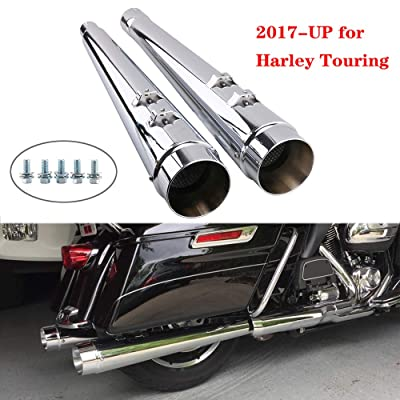 Slip On Mufflers Exhaust Pipe - Classic Chrome Megaphone Exhaust Pipe For 2020-UP Harley Touring, Bagger Models, Dresser, Road King, Electra Glide, Street Glide, Road Glide, Ultra Glide with stock: Automotive