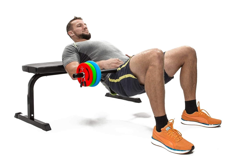 Barra larga para pesas con cierre de pinza + discos / 2 kg 4 kg 6 kg 8 kg 10 kg 12 kg 14 kg 18 kg 20 kg variantes de peso ...