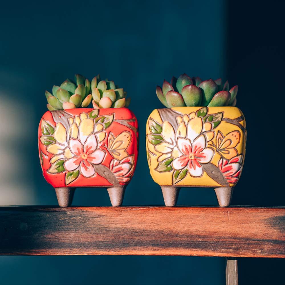 Hermosa Maceta de cer/ámica de Estilo Artesanal de Flores Sungmor Set de 4 10.5CM Maceta de Cactus suculenta Idea de Regalo Simple Bonita Maceta de alf/éizar de Escritorio