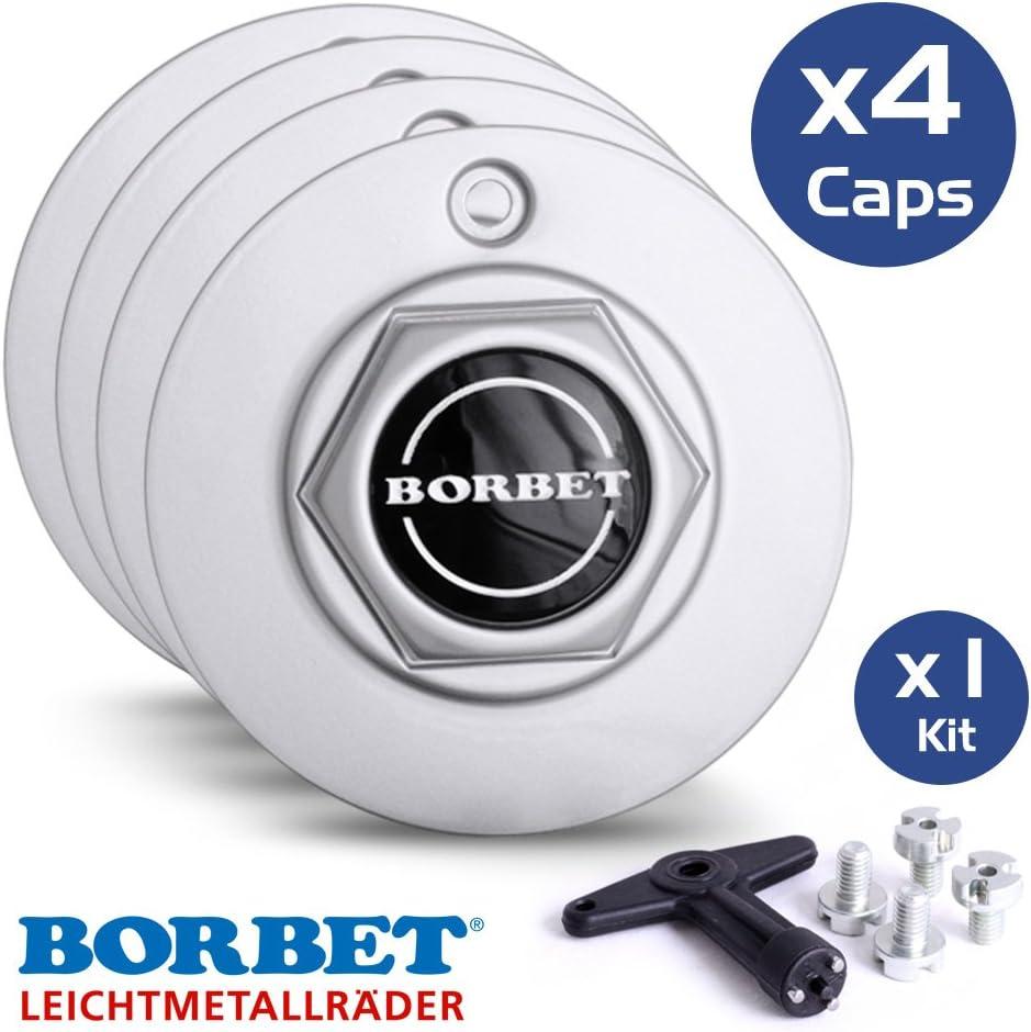 Bolts and Key For Borbet Alloy Wheels Borbet A Hexagonal Centre Cap Set Set of 4