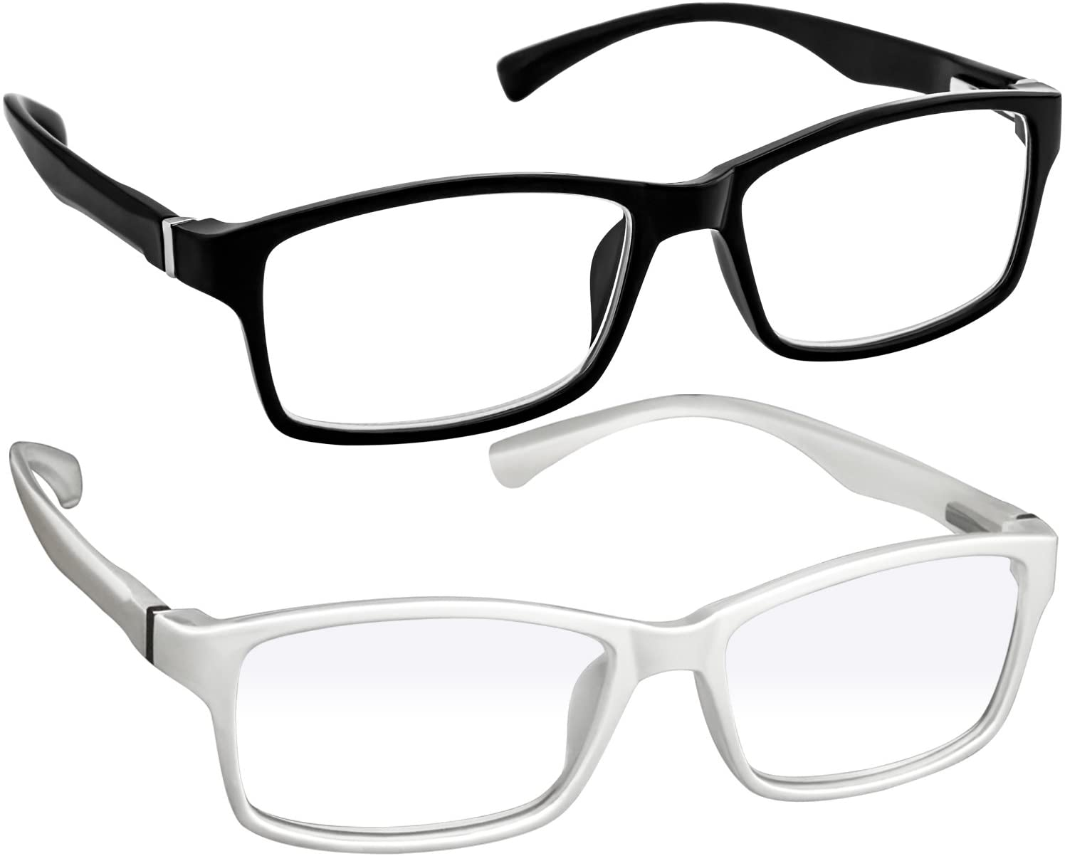 Computer Reading Glasses 0.50_Black White Protect Your Eyes Against Eye Strain, Fatigue and Dry Eyes from Digital Gear with Anti Blue Light, Anti UV, Anti Glare, and are Anti Reflective