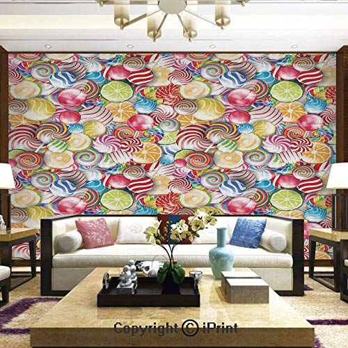Wallpaper Nature Poster Art Photo Decor Wall Mural for Living Room,Spiral Sugar Candy Sweets Lolly Pops Dessert Fun Girls Kids Nursery Theme,Home Decor - 66x96 inches