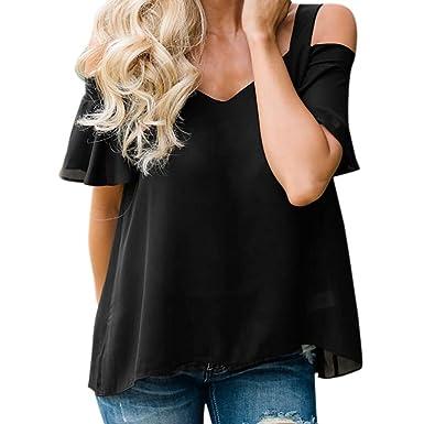 MRULIC Frauen Damen T-Shirt Kurzarm Strapless Solid Crop Bluse ...