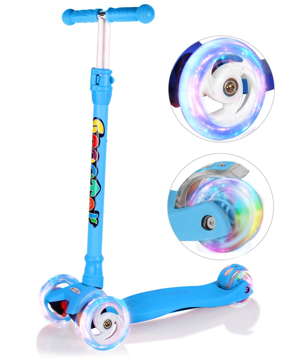 OUTON Kick Scooter for Kids 3 Wheel Lean to Steer Adjustable Height PU 4 LED Flasing Wheels Blue
