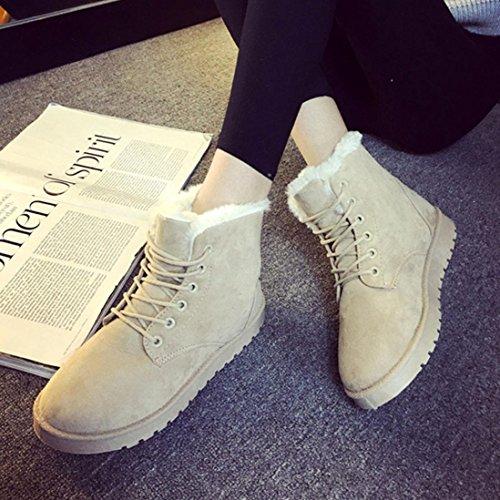 Bottes Dhiver Pour Femmes, Egmy Cheville Plat Lacets Fourrure Doublée Hiver Chaud Chaussures De Neige 2017 Beige 1