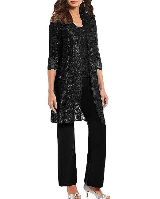 Amazon.com: WZW Chic Madre de la novia pantalones trajes 3 ...