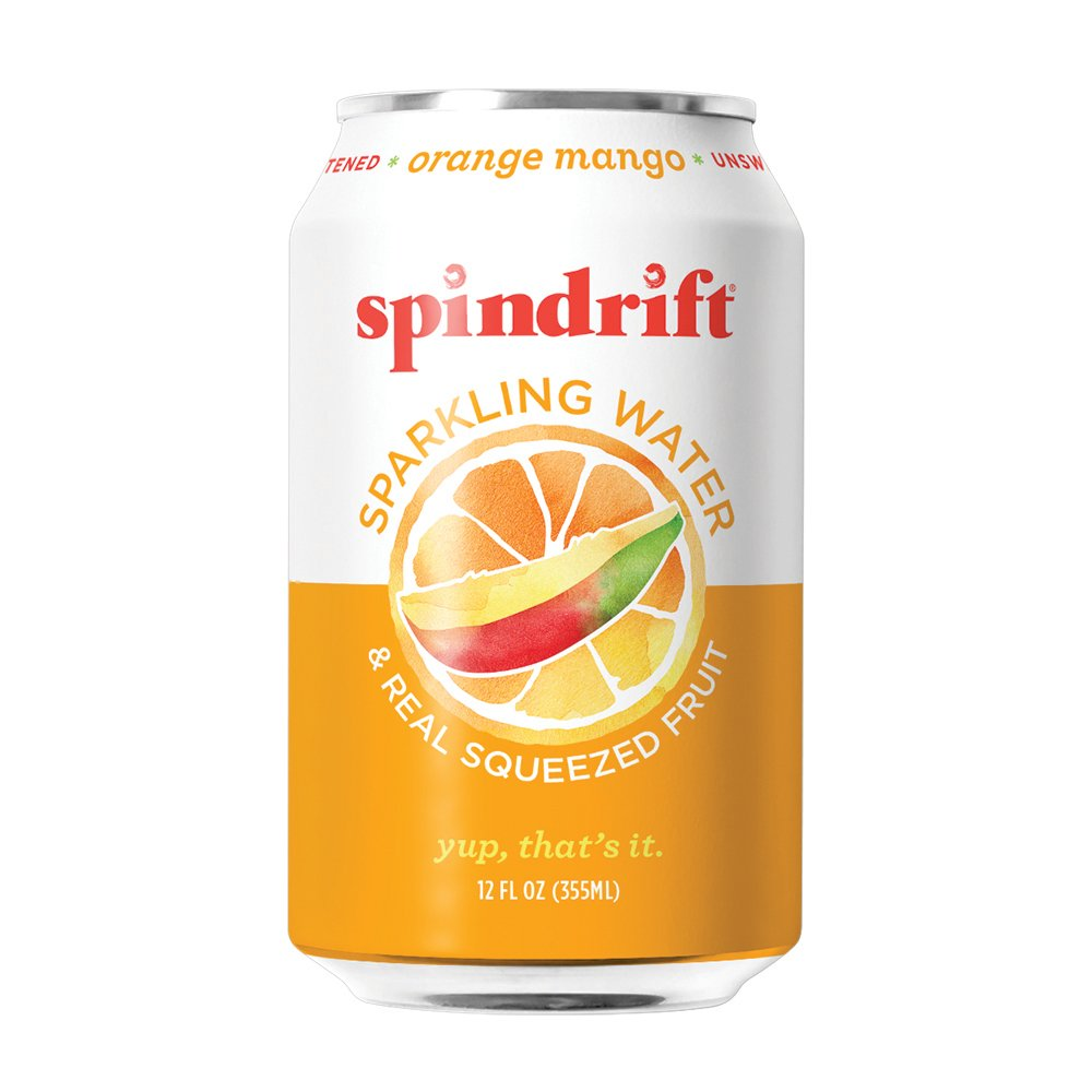 Spindrift Orange Mango Sparkling Water, 12-Fluid-Ounce Cans, Pack of 24