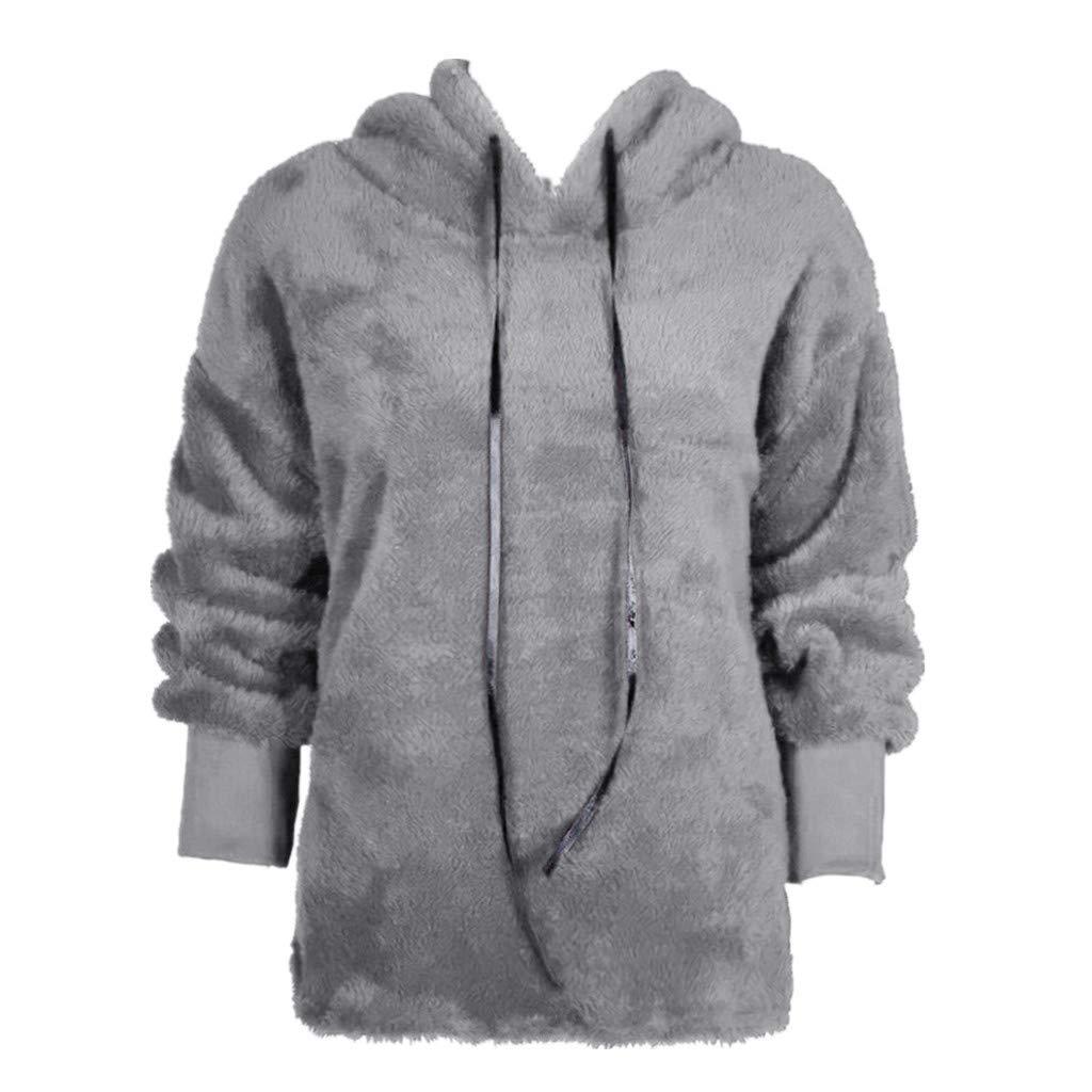 db99d66e185 Sunhusing Women's Hooded Zip Pocket Long Sleeve Fleece Jacket Sweater  Winter Warm Coat Outwear