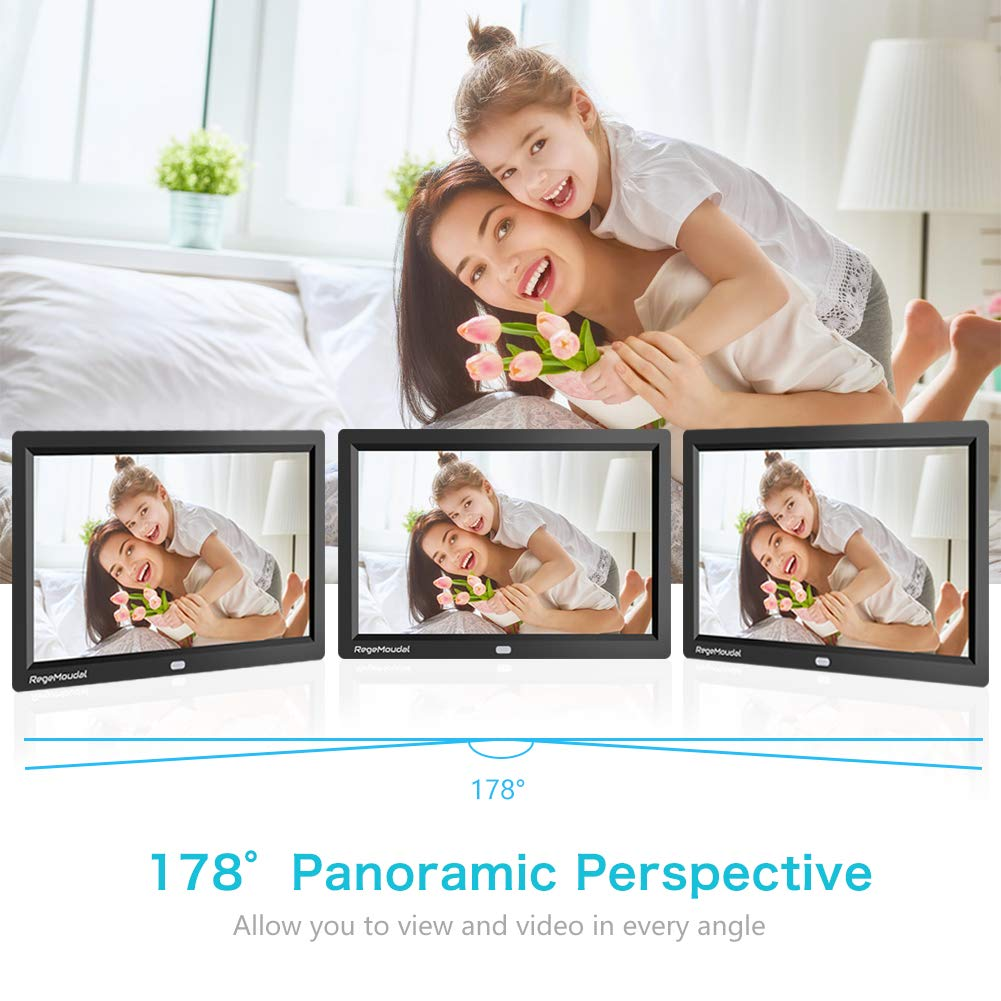 RegeMoudal 10 inch Digital Photo Frames with High Resolution 1280 X 800 IPS LCD Panel, Support 64G SD Card and USB Stick Various Display Modes, for 1080P Videos/Pictures/Calendar/Time/Music Black by RegeMoudal (Image #2)
