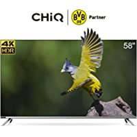 CHiQ U58H7 4K LED Smart TV, UHD, 58 Inch, Android 9.0, HDR10, A+ Screen, WiFi, Bluetooth 5.0, Netflix, YouTube, Prime Video, Full screen display, HDMI, USB