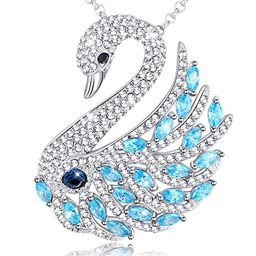 MEGA CREATIVE JEWELRY Swan 3 in 1 Pendant Necklace Brooch Pin Crystals from - Crystal Pin Swarovski Brooch Pendant