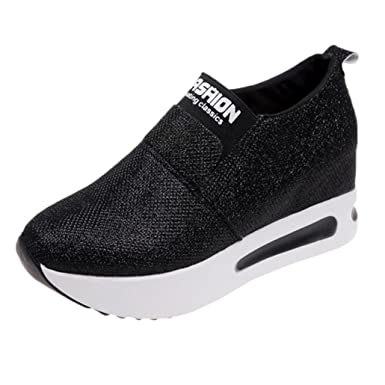 a22f0c2834dd7 Amazon.com: 2019 Womens Girls Thick Bottom Platform Wedges Shoes Sneakers, Casual Soft Sole Slip-on Shoes 5.5-8: Clothing