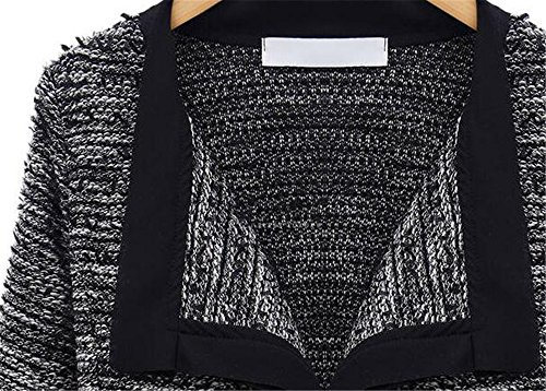 Black Elegante Knitted Mujer Chaqueta Ocasionales Top Outwear Sudaderas Vintage AILIENT Larga Outwear Coat Jacket Cardigan Manga Hipster qagwtYA