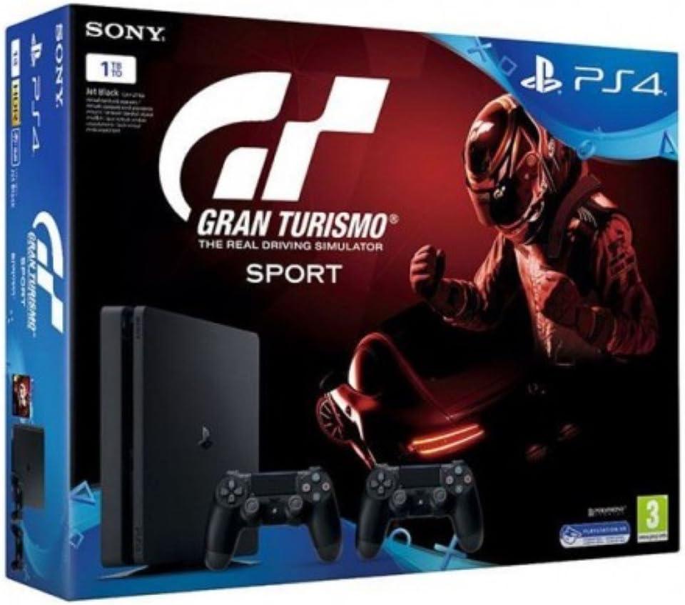 Sony Playstation 4 Slim 1TB + Gran Turismo Sport GT + 2x Dualshock Controllers Negro 1000 GB Wifi - Videoconsolas (PlayStation 4, Negro, 8192 MB, GDDR5, GDDR5, AMD Jaguar): Amazon.es: Videojuegos