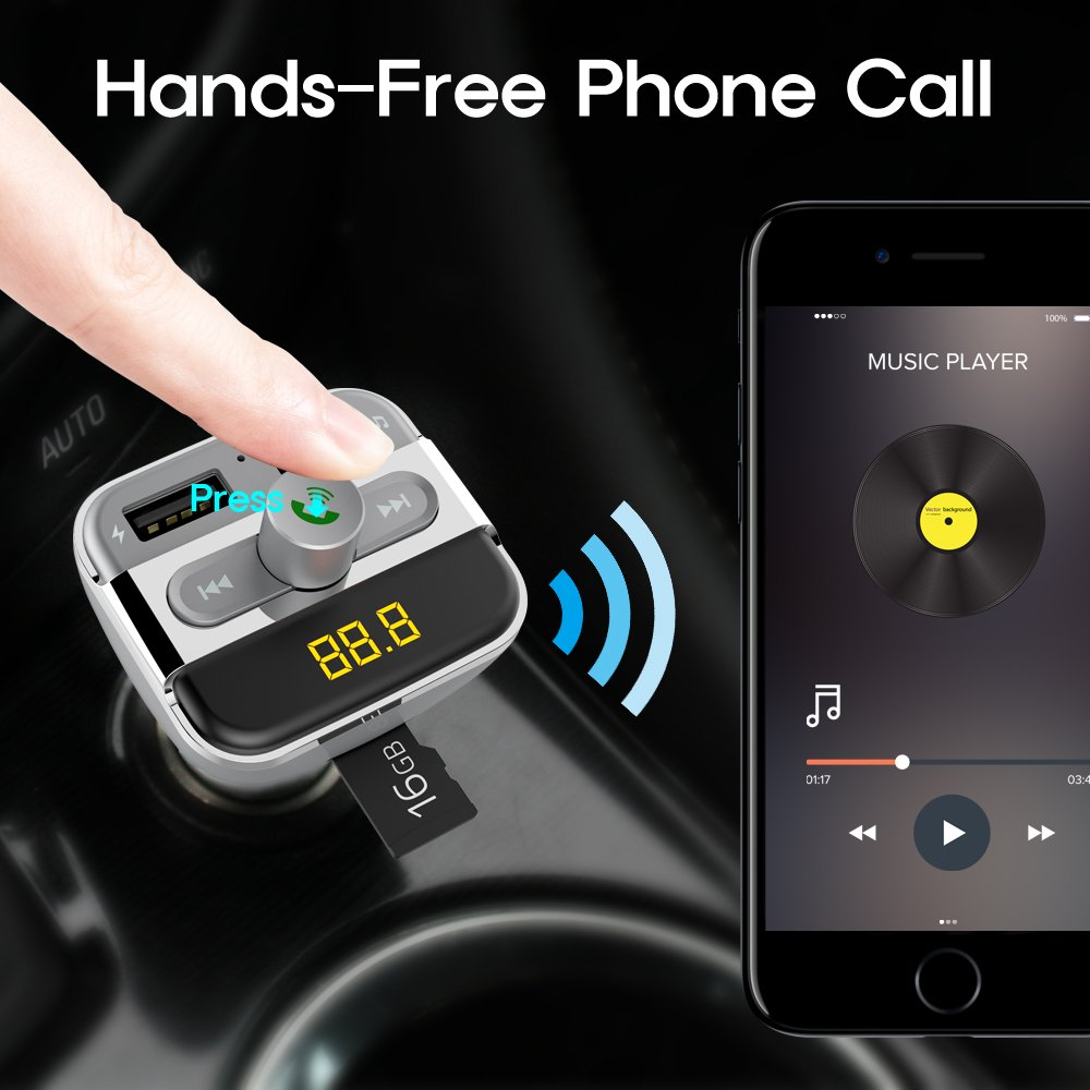 Bluetooth FM Transmitter Wireless In-Car Radio Adapter Hands-free Call Car Kit MP3 Player 3.4A Dual USB Car Charger with Display for iPhone iPad iPod Samsung Xiaomi Huawei(black) (XF-039)