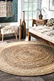 nuLOOM Jute Collection 100-Percent Jute Area Rug, 8-Feet Round, Solid,...