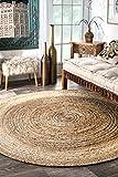 nuLOOM Natural Hand Woven Rigo Jute rug Round, 6'