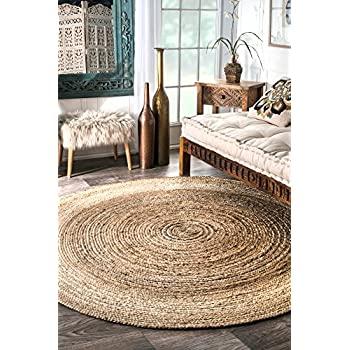 nuLOOM Jute Collection 100-Percent Jute Area Rug, 8-Feet Round, Solid, Natural