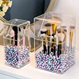 Makeup Brush Holder Cosmetic Brush Cylinder Desktop Storage Box Square/Round/Hexagonal Makeup Brushes Holder Transparent Acrylic Cosmetic Flip Top Storage Tube