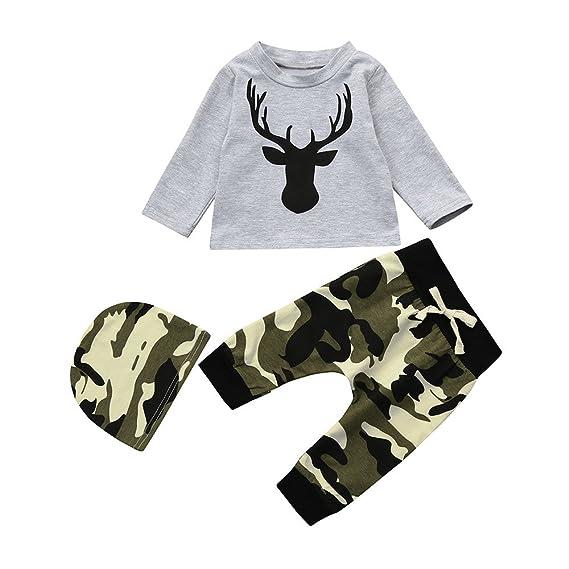 Logobeing Recién Nacido Niño Bebé Ciervos Camiseta Tops + Sombrero + Camuflaje  Pantalones 3Pcs Ropa Conjunto 5b0a4dd6c7ee