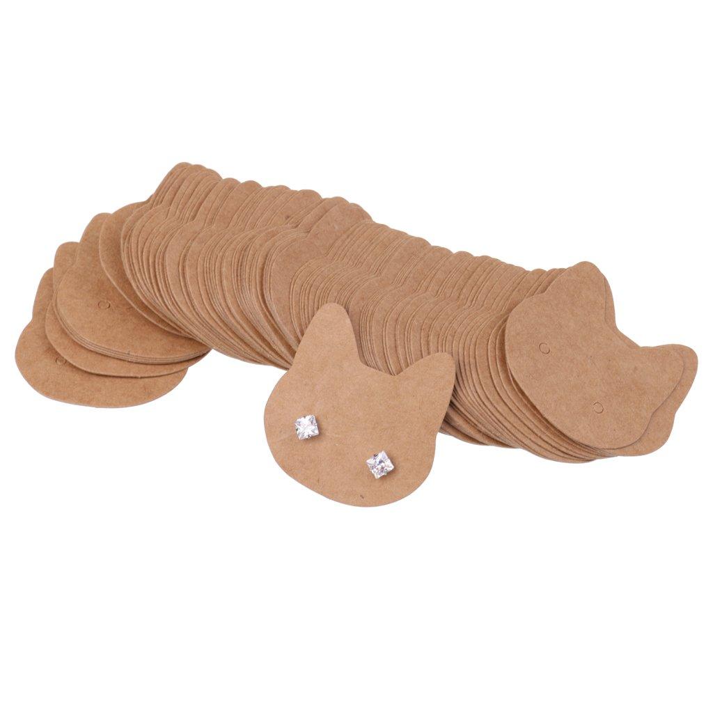 Jili Online Pack of 100 Kraft Paper Brown Pineapple/Cat/Tree Earrings Display Cards Tags Holder - Cat
