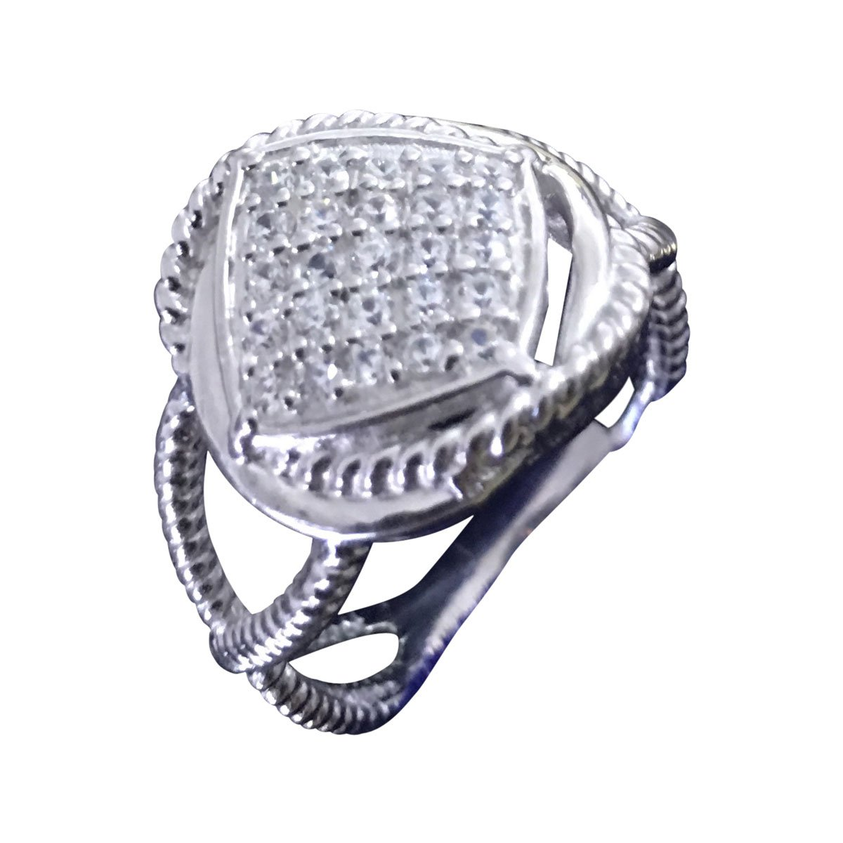 GEMPARA 14k White Gold Plated Designer Inspired Cable Twisted Ring