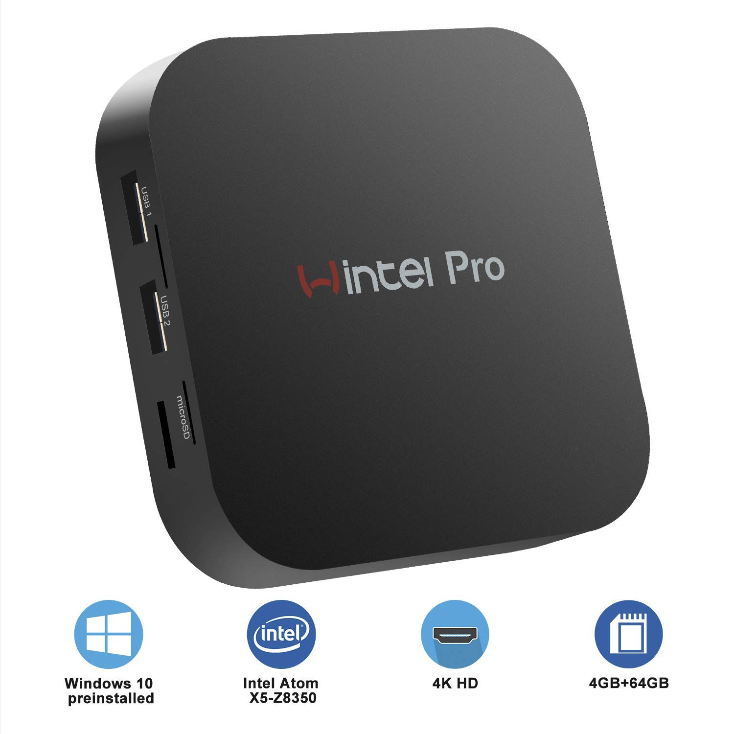 TALLA 4GB+64GB/Windows 10 Pro. Mini PC - Mini Ordenador Windows 10 Pro(64 bits)sin Ventilador,Ordenadores de sobremesa(Intel Atom x5-Z8350 de DDR3 4GB+64GB eMMC Gráfico HD WiFi Dual 2.4G+5G BT 4.2 1000Mbps LAN)