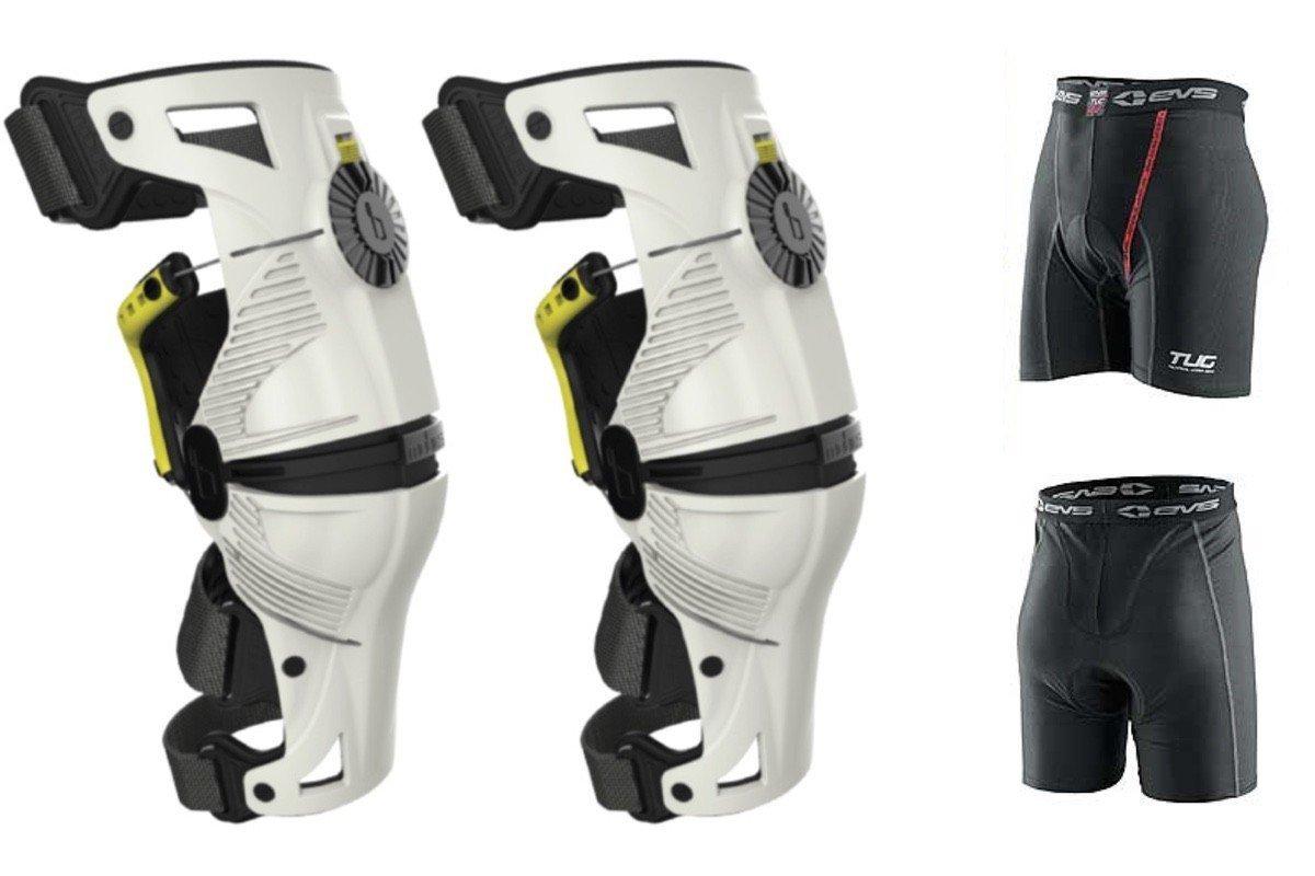 Acid Yellow PAIR Dirt Bike MX ATV Free EVS Mobius X8 Knee Braces XS White