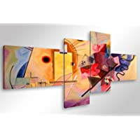 Quadro Moderno KANDINSKY YELLOW RED BLUE - cm 160x70 Stampa su Tela Canvas Arredamento Arte Arredo Astratto