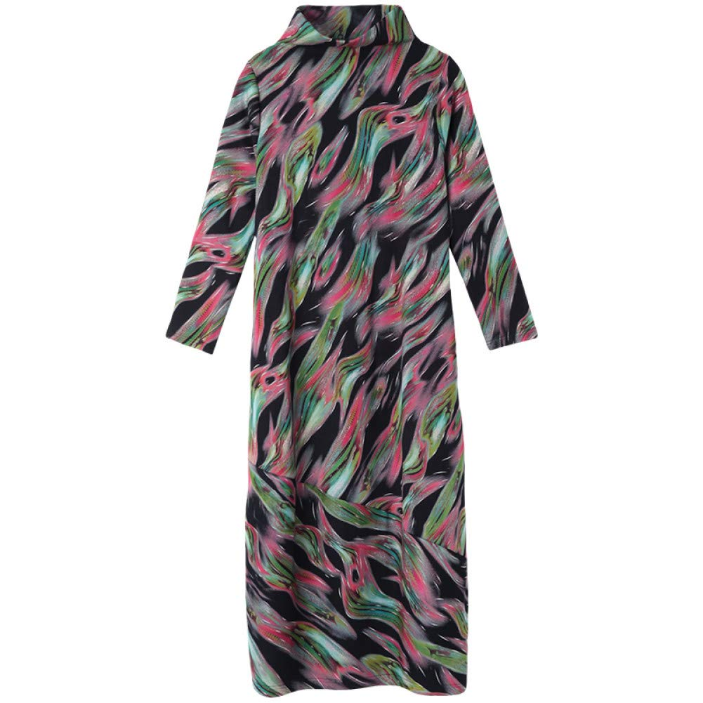 L BINGQZ Cocktail Dresses Floral dress long-sleeved women's loose large size long skirt half-high collar autumn and winter skirt