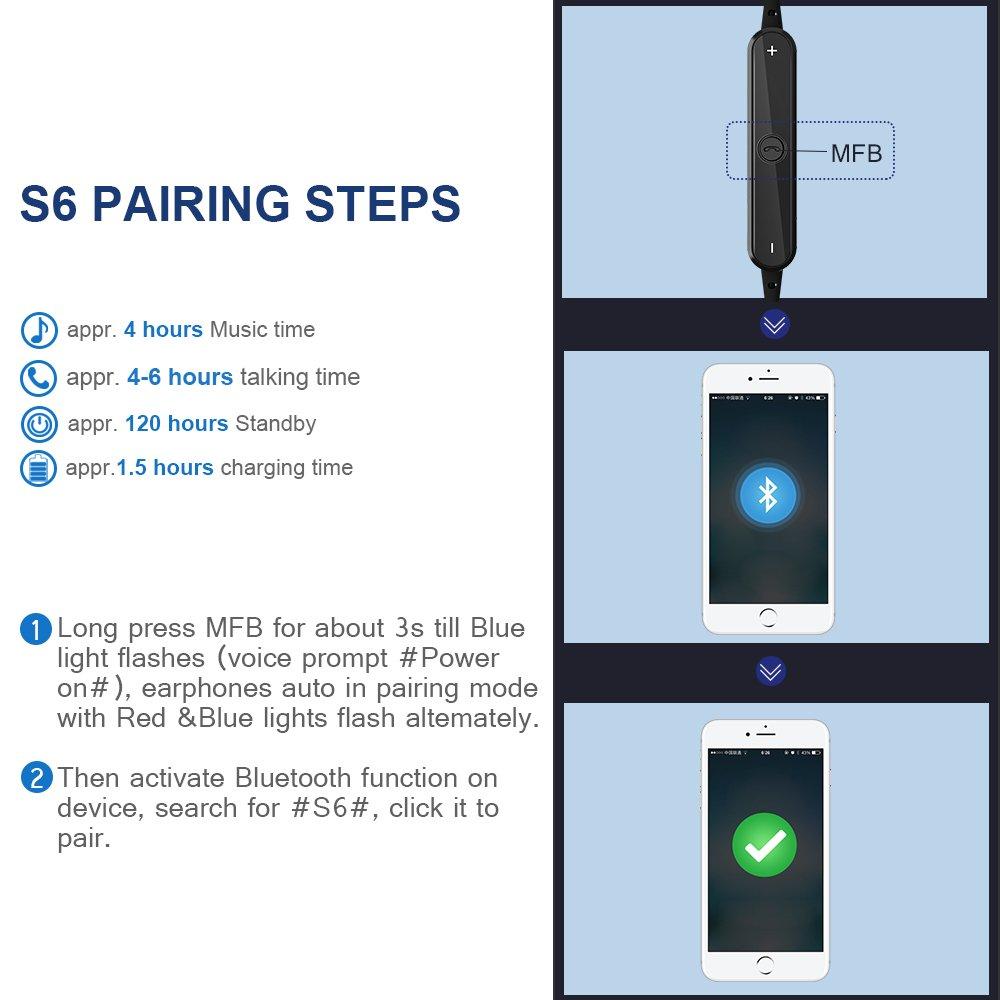 GRDE Auricular Manos Libres Bluetooth 4.1 In-Ear Cascos Deportivos Inalámbricos con Siri,Sonido Estéreo,Cancelación de Ruido y Sweatproof IPX4 para ...