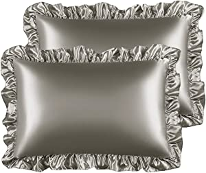 STONECREST Satin Pillowcase for Hair and Skin, Soft Silky Ruffle Satin Pillow Sham Covers with Envelop Closure 2 Pack(20 x 26)(Silver Grey, Standard)