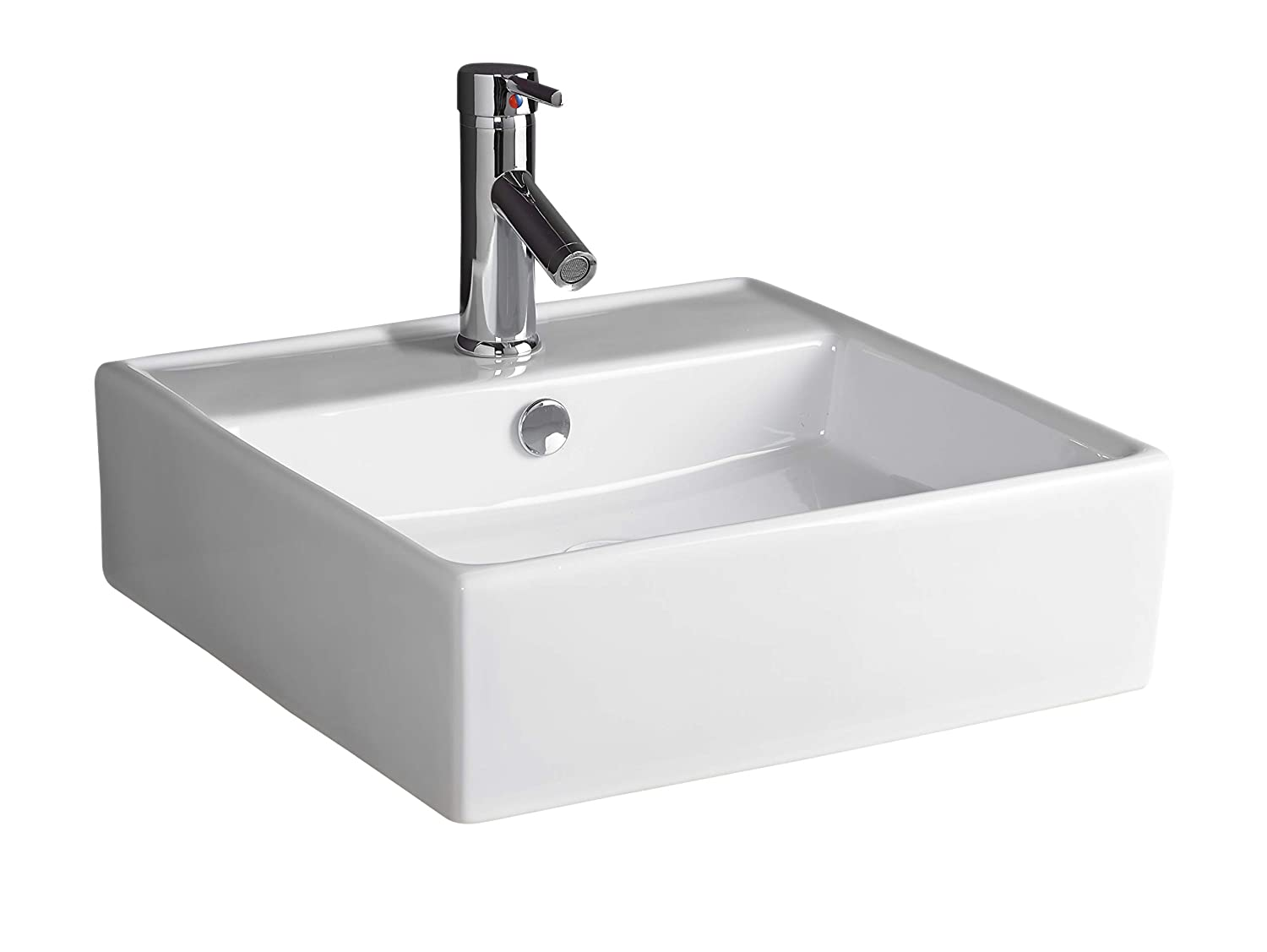 Clickbasin Square Sink Wall Hung Family Bathroom Basin 460mm x 460mm NAPOLI