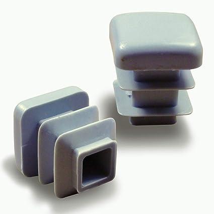 Ajile Contera Interior Estriada Pie de Muebles para Tubo Cuadrado Conteras para Protección de Plastico GRIS Para Tubo 16x16 mm - 24 Unidades - ...