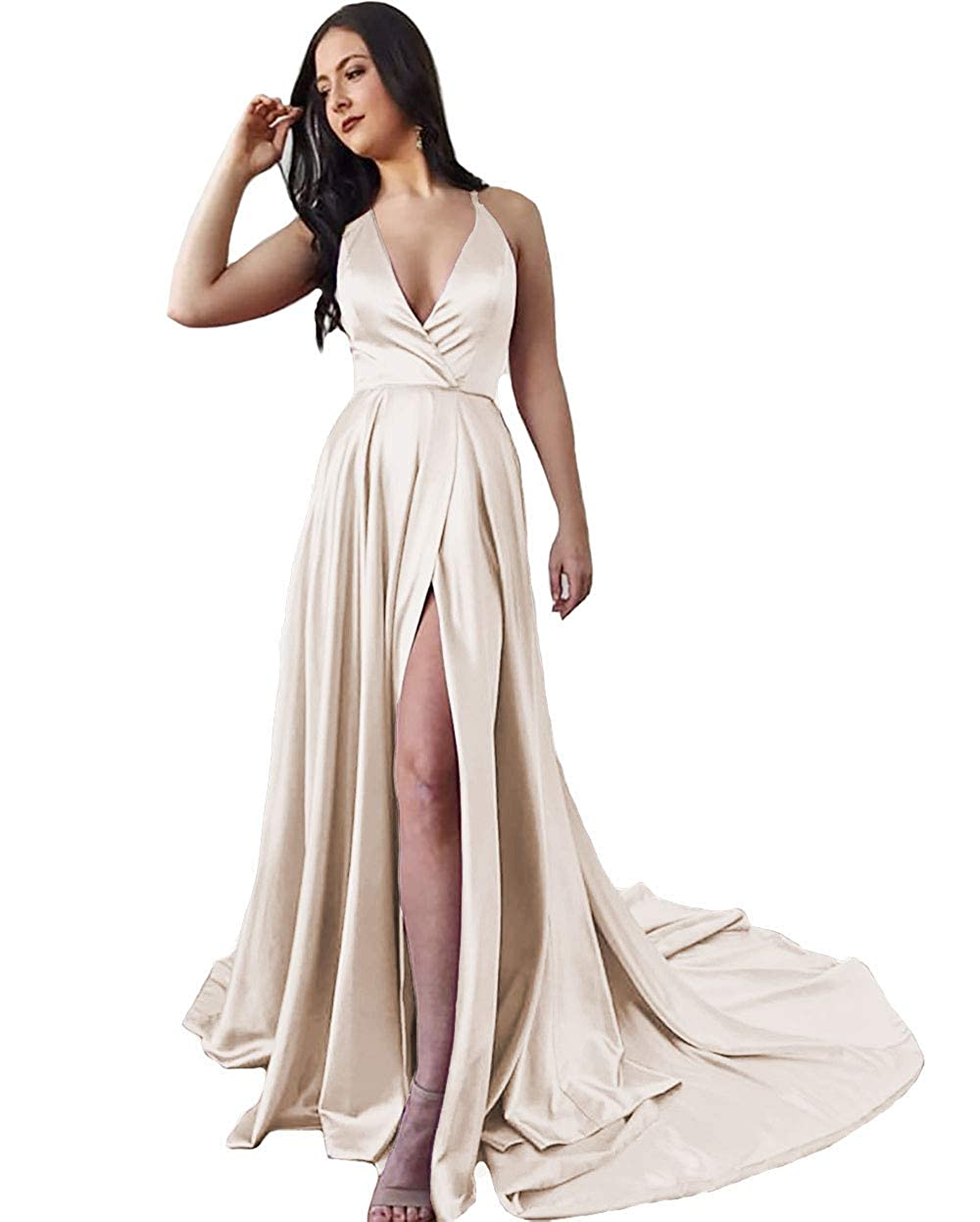Champagne IVYPRECIOUS Women's Long Prom Dresses V Neck A Line with Side Split Evening Gowns