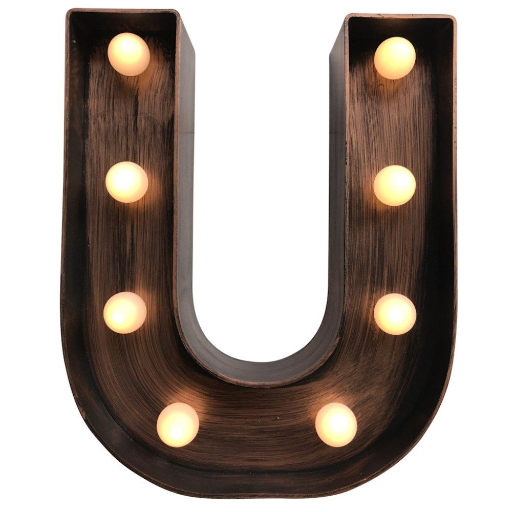 MagiGlow Vintage Style U LED Light Up Alphabet Letters, Brushed Bronze